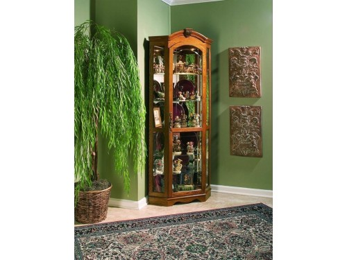 Estate Oak Corner Curio Cabinet